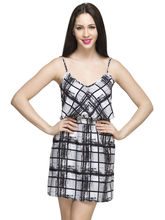 Oxolloxo Women's Check Dress, black, xl