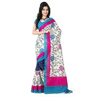 Vamika Bhagalpuri silk Saree, blue and cream