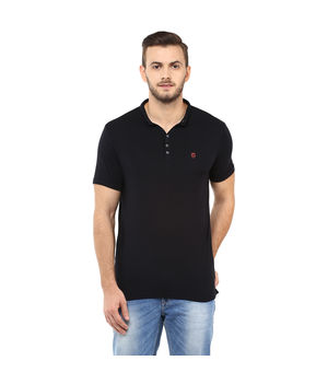 Solid Stand Collar T Shirt,  black, s