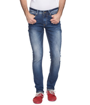 Skinny Low Rise Narrow Fit Jeans,  mid blue, 30