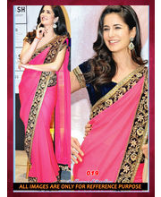 Bollywood Replica Katrina Kaif Chiffon Saree By Ragini Sarees, Multicolor