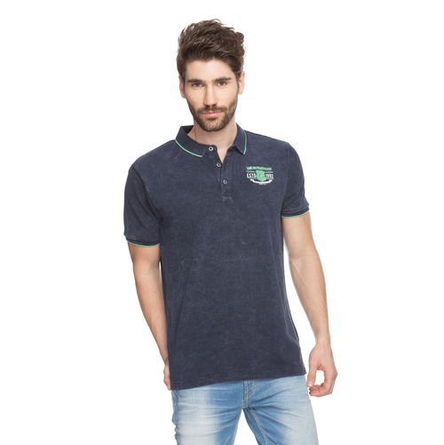 Solid Polo T-Shirt, xxl,  navy blue