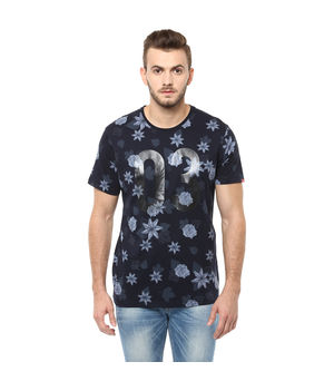 Printed Round Neck T-Shirt, m,  navy blue