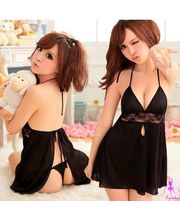 Wowemall Dress With Free G-String For Cuty, black