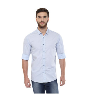 Printed Regular Slim Fit Shirt, s,  sky blue