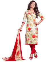 Salwar Studio Synthetic Floral Printed Dress Material with Dupatta, white and red