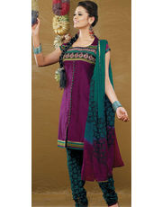 Wine Resham work Kurta Churidar