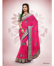 Touch Trends Pure Georgette Designer Sarees - 247_ A, Pink
