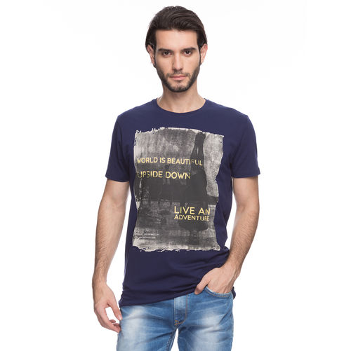 Printed Round Neck T-Shirt, s,  navy blue