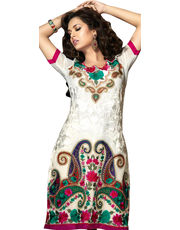 White Faux Georgette Salwar Kameez With Dupatta