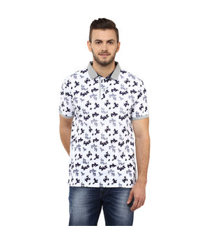 Printed Polo T Shirt,  white, l