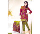 Zadine Collection Maroon & Green Color Cotton Printed Dress Material (Multicolor)