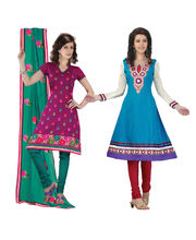 Fabdeal Cotton Embroidered Dress Material Combo Of 2 (KCCR100709SGDSHY), Multicolor