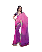 Vishal Fuex Georgette Pink and Purple Color Designer Saree...