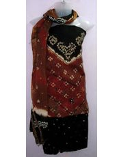 Cotton Silk Material Bandhani with hand work Dress Material