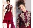 Shaded Maroon Embroidered Churidar Set (Multicolor)
