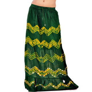 Little India Bandhej Green & Yellow Exclusive Cotton Skirt 290