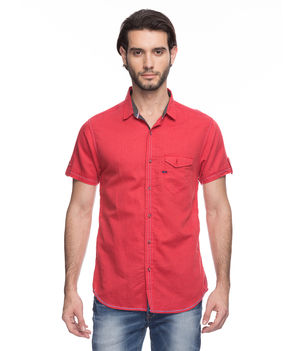 Solid Regular Slim Fit Shirt, m,  red