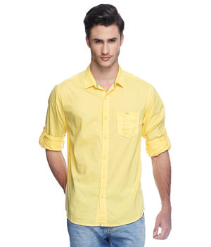 Solid Regular Slim Fit Shirt, xl,  yellow