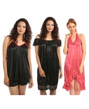 Klamotten Nightdress Combo Of Three Kn-137, Multicolor