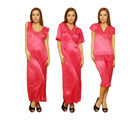 Clovia Satin and Nylon Lace Women's Nightwear, pink