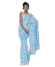 Fav Diva Pure Crepe Silver Work & Cut Work Saree, Multicolor