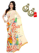 Shonaya Faux Georgette Printed Sarees with Unstitched Blouse Piece, cream