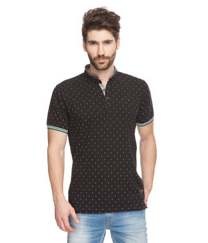 Printed Polo Stand Collar T-Shirt, l,  black
