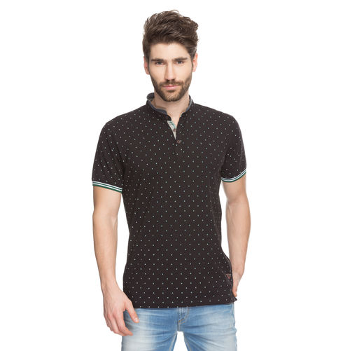Printed Polo Stand Collar T-Shirt,  black, s
