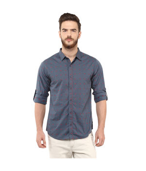 Printed Regular Shirt,  grey, m