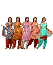 Kriaa Womens Unstitched Salwar Suit Combo Pack Of 5 - KDM010, Multicolor