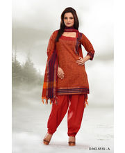 Touch Trends Pure Cotton Dress Material - 5519 A, Orange