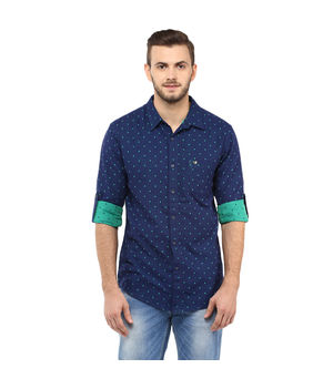 Printed Regular Slim Fit Shirt, xl,  blue