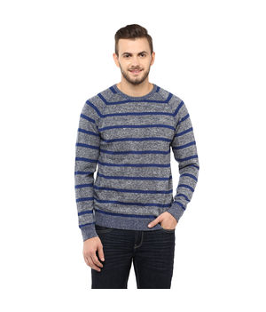 Striped Round-Neck T-Shirt,  blue, m