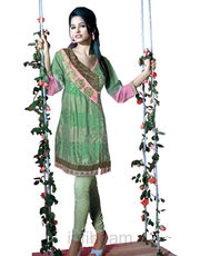 Sahiba Embroidered Kurti Green