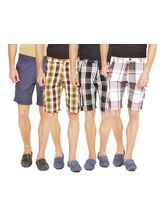 Wajbee Set of 4 Men's Cargo Shorts, 36, multicolor