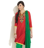 DHWANI Embroidered Yoke Kurta, red, m