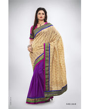 Half Concept With Contrast Color & Banarasi Jaquard Border Saree - 244_ B, Multicolor