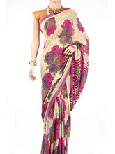 Fav Diva Premium Semi Georgete Flower Printed Saree (Multicolor)