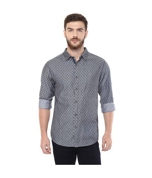 Printed Regular Shirt,  dark grey, s