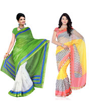 Fabdeal Super Net & Silk Printed Saree Combo Of...