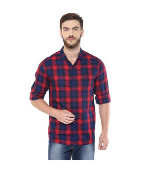 Checks Regular Slim Fit Shirt,  red, s