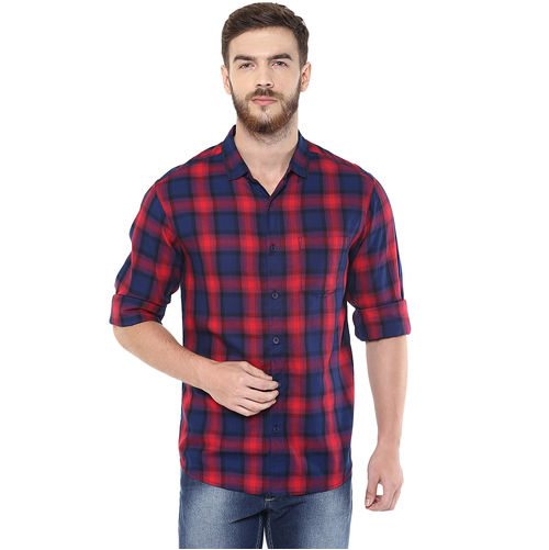 Checks Regular Slim Fit Shirt, s,  red
