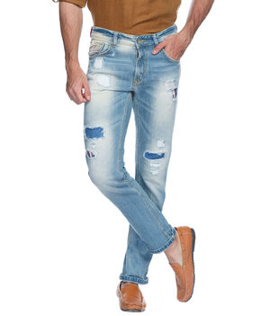Slim Low Rise Narrow Fit Jeans,  light blue, 30