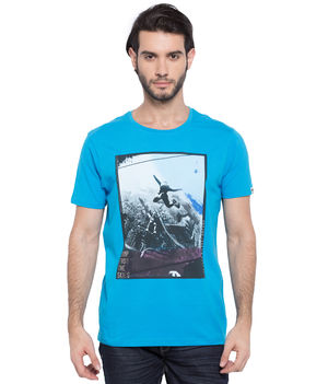 Printed Round Neck T-Shirt, l,  turquoise blue