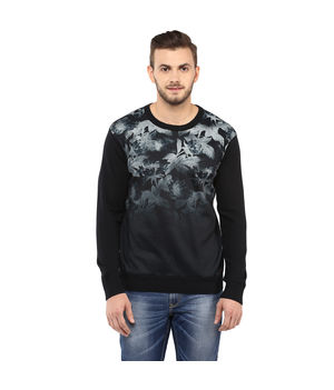 Printed Round-Neck T-Shirt, l,  black