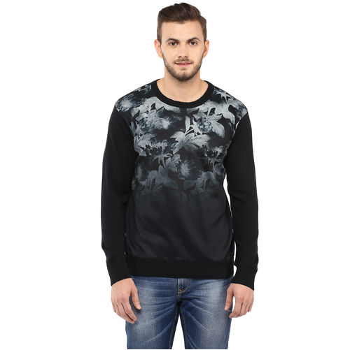 Printed Round-Neck T-Shirt,  black, l