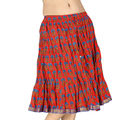 Hand Block Print Sanganeri Cotton Mini Skirt -194 (Red)