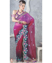Fandango and Red Violet Georgette Cut work Saree (Multicolor)