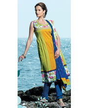 An Elegant Kurta Churidar With Sober Yellow And Blue